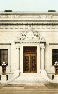 New Hampshire Historical Society entrance, from postcard, c. 1911–12. The monumental figures and seal above the door, designed by New Hampshire-born sculptor Daniel Chester French (1850–1931), were carved from a single block of Concord granite. New Hampshire Historical Society.